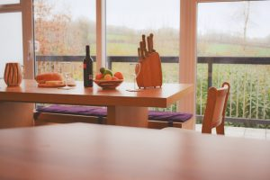 Tamar holiday home at Honicombe Manor dining table
