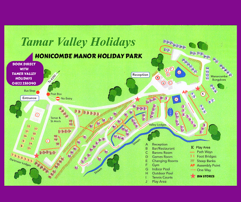 map of Honicombe Manor Holiday Park