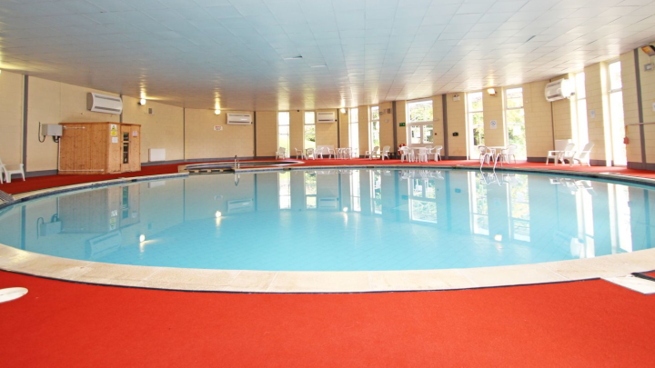 heated indoor pool at Honicombe Manor